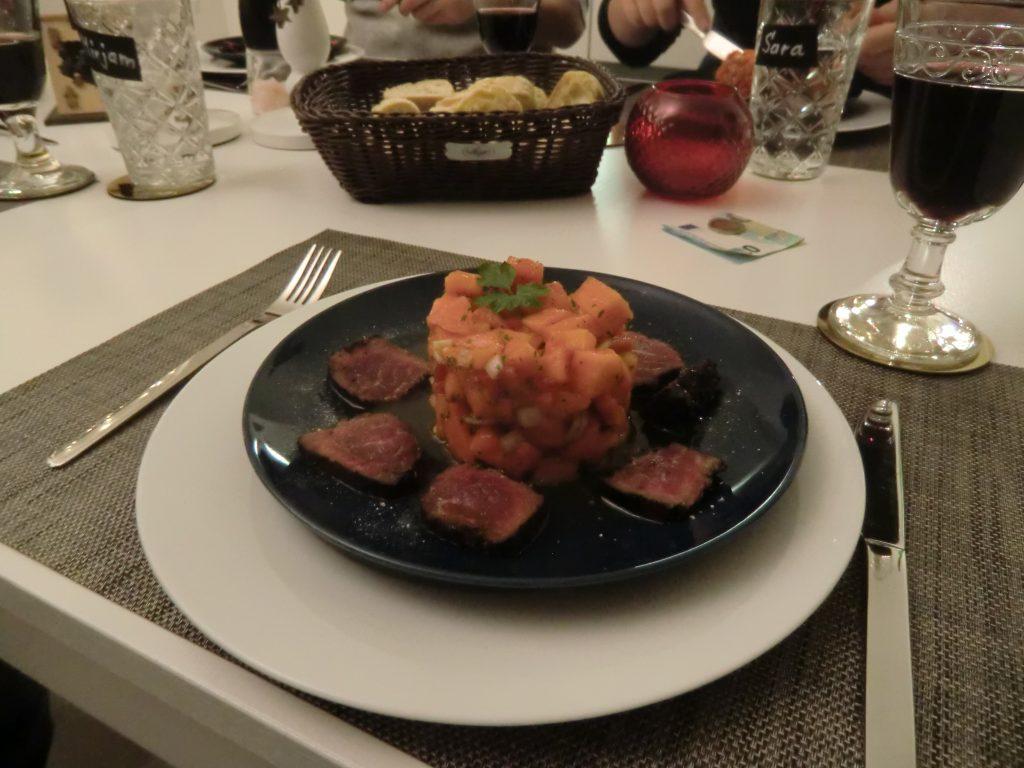 Salsa von der Papaya mit kurz gebratenem Rinderfilet 2