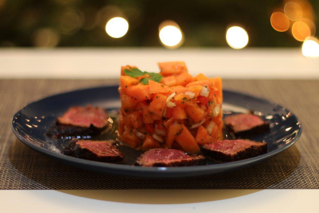 Salsa von der Papaya mit kurz gebratenem Rinderfilet 6