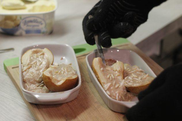 Zimt-Ricotta auf warmer Birne mit Vanille-Eis 2