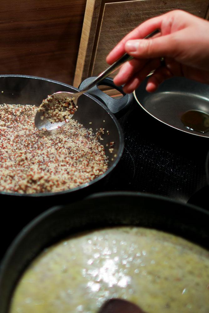 Gebratenes Lachs-Filet mit Quinoa-Chia-Paprika und Sweet Onion Sauce 2