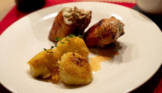 Hähnchenroulade, Thunfisch, Knödel, Salsa