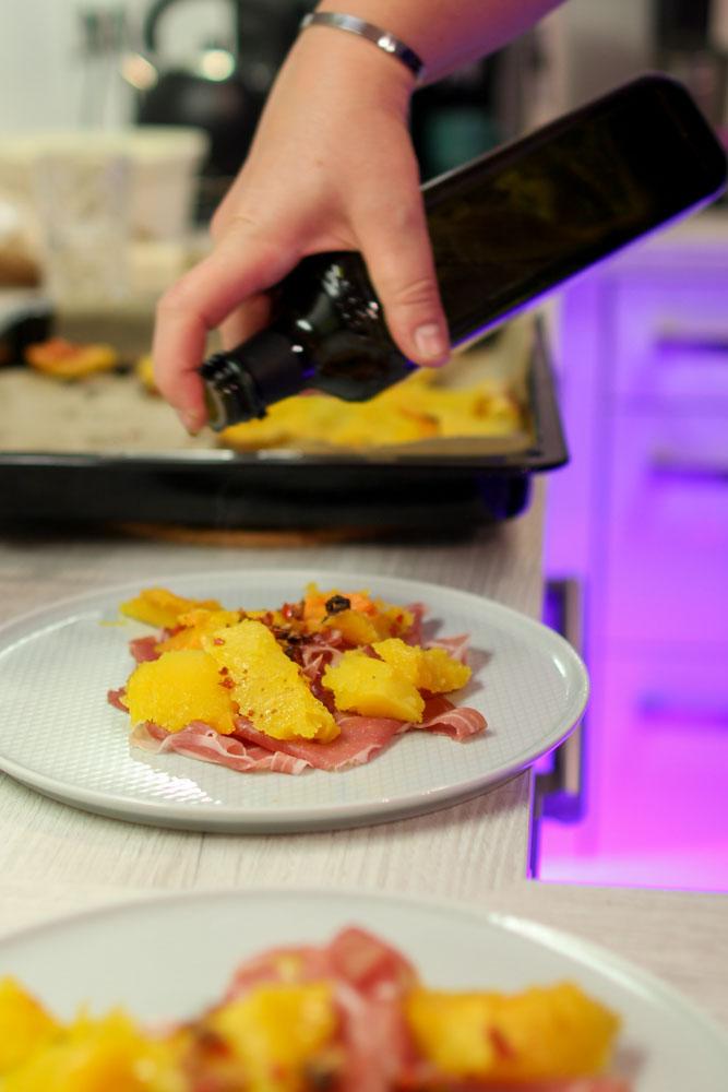 Gerösteter Butternutkürbis mit Parmaschinken und Pecorino 7
